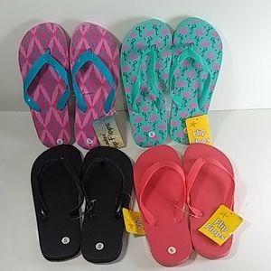 Ladies Flip Flops 4 Pairs Sz Small (5-6)